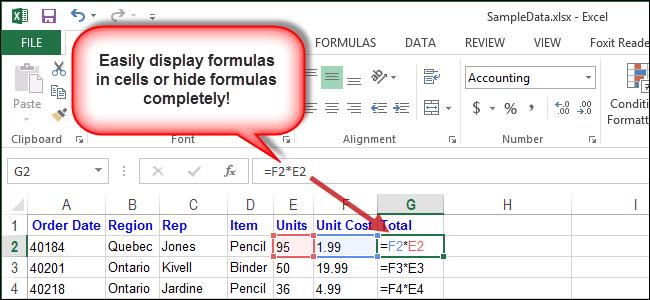 как формулы сделать видимыми в excel