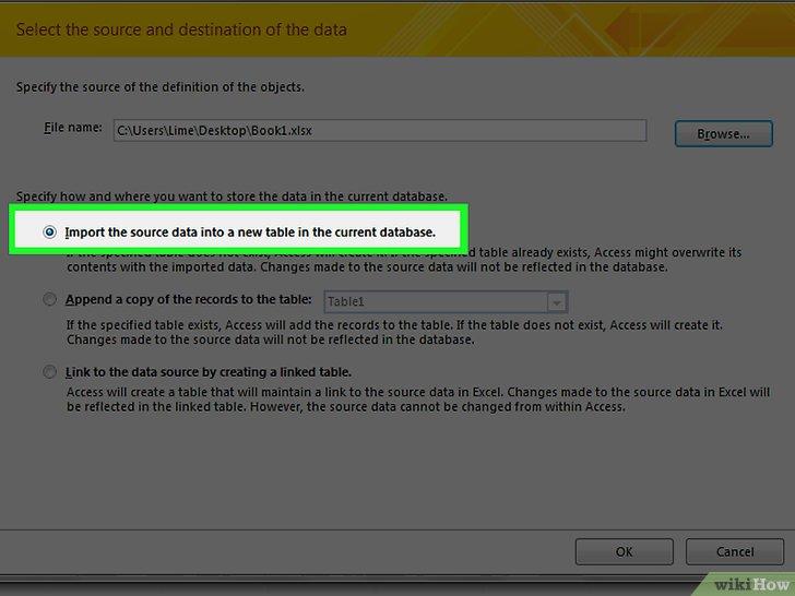 как сделать базу данных в access из таблицы excel