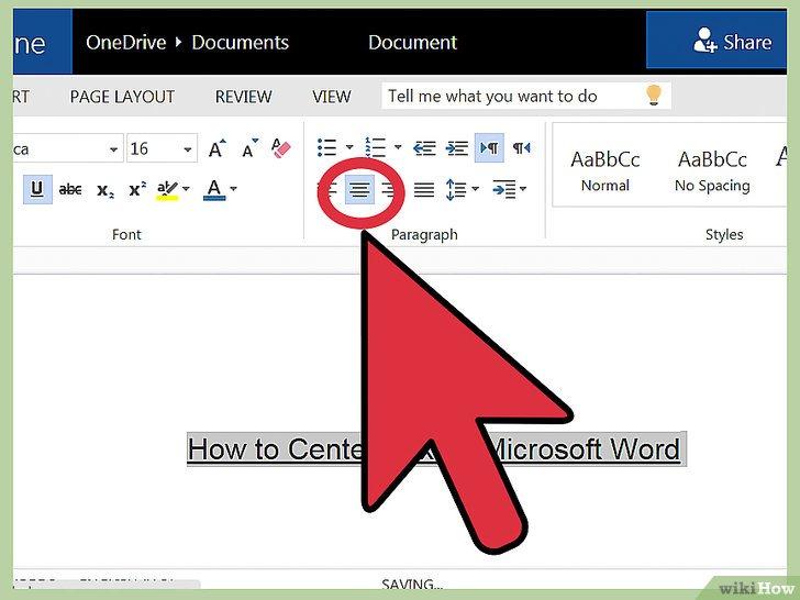 как сделать центрирование в word