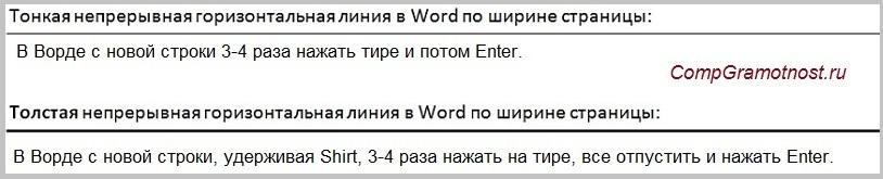 как сделать черту длинную в word для форм