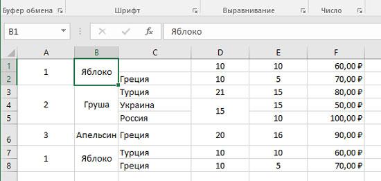 как сделать чтобы названия граф таблицы в excel