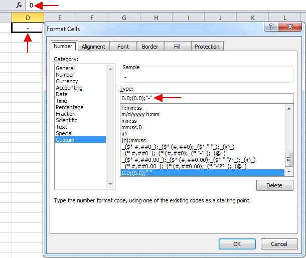 как сделать чтобы вместо нуля был прочерк в excel