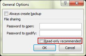 как сделать файл read only excel