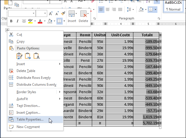 как сделать фиксированную таблицу в word