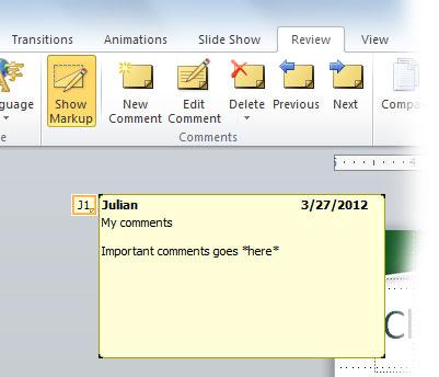 как сделать комментарий в powerpoint
