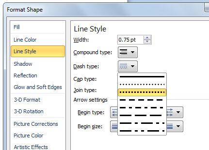как сделать пунктирную линию в powerpoint