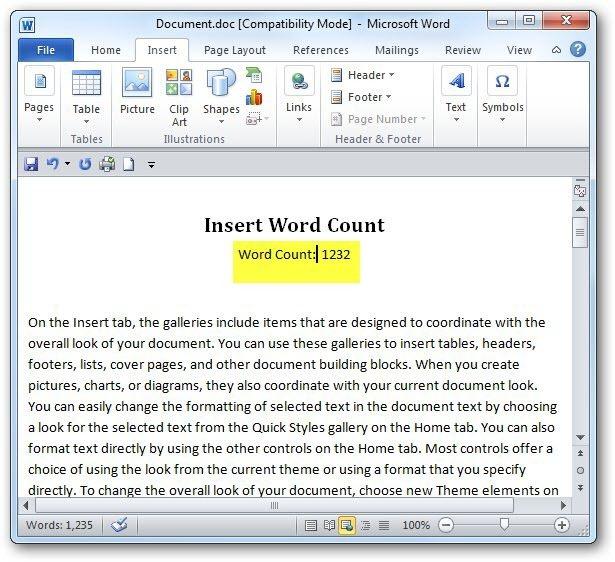 как сделать счетчик в word