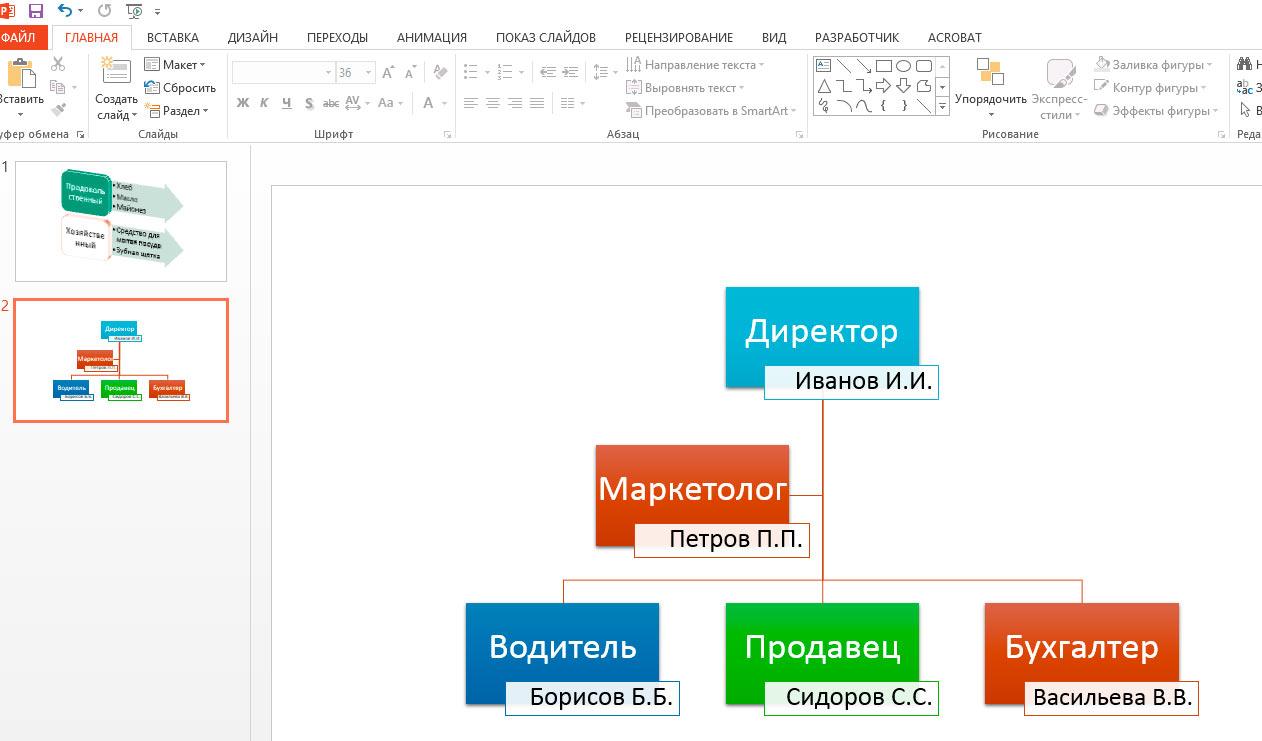 как сделать схему в презентации powerpoint 2007
