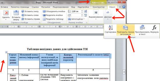 как сделать строку заголовком таблицы word 2010