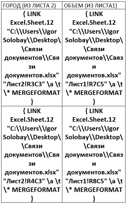 как сделать связь между таблицами excel и word