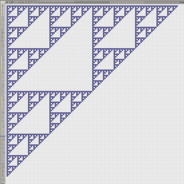 как сделать треугольник паскаля в excel
