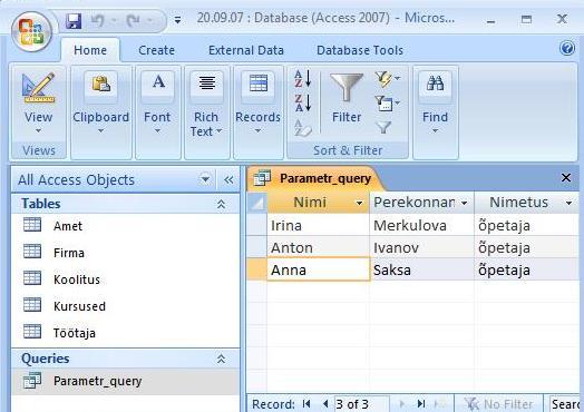 как сделать запрос с параметром в access 2007