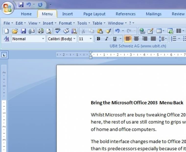 сделать интерфейс word 2010 как word 2003