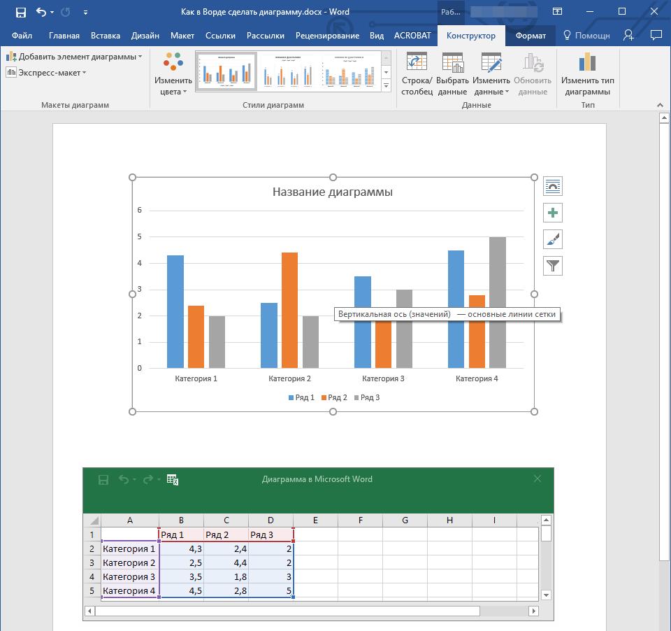 как сделать диаграмму по таблице в word