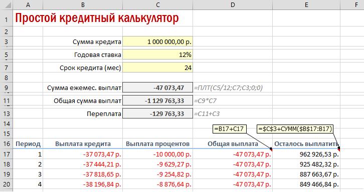 как сделать ипотечный калькулятор в excel