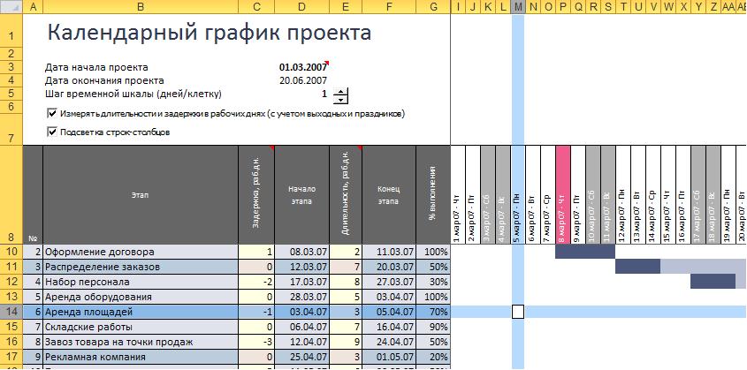 как сделать календарный график в excel 2010