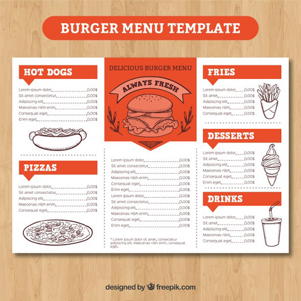 как сделать меню для кафе в word