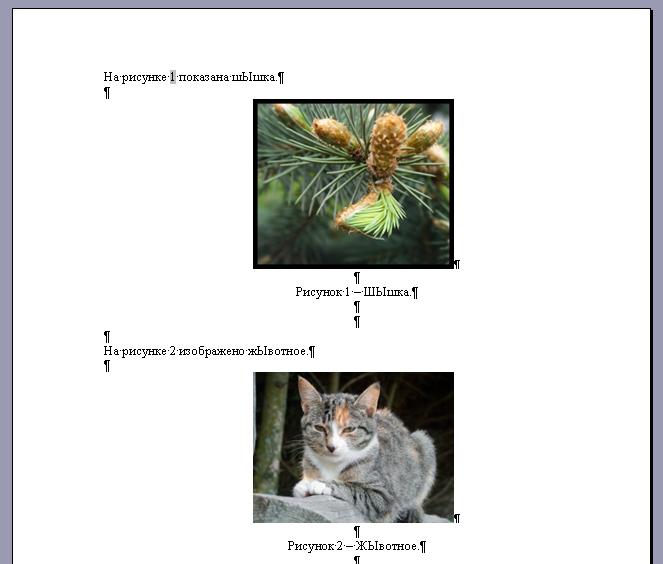 как сделать нумерацию рисунков в word