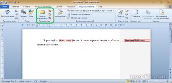 как сделать область исправлений в word
