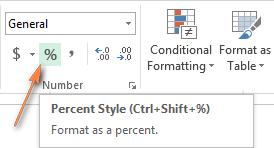 как сделать процентный формат в excel