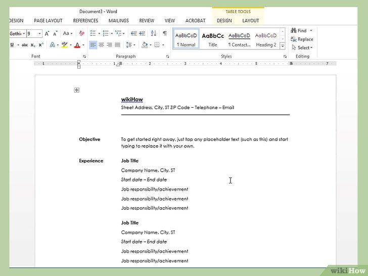 как сделать резюме в word 2010