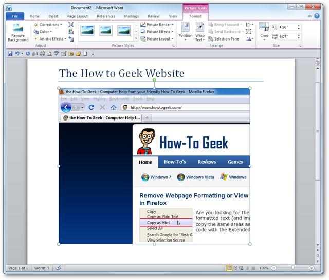 как сделать скриншот в word 2010