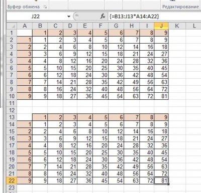 как сделать таблицу умножения в excel быстро