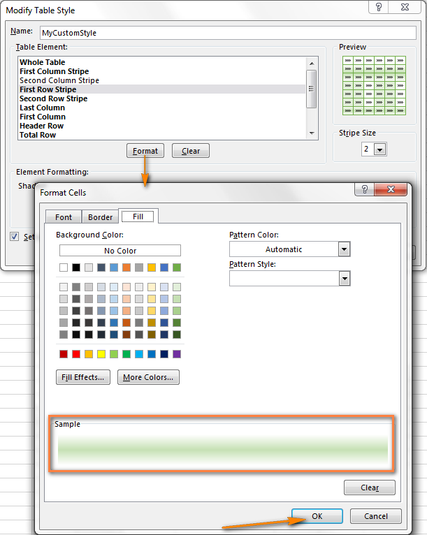 как сделать чередующиеся цвета строк в excel