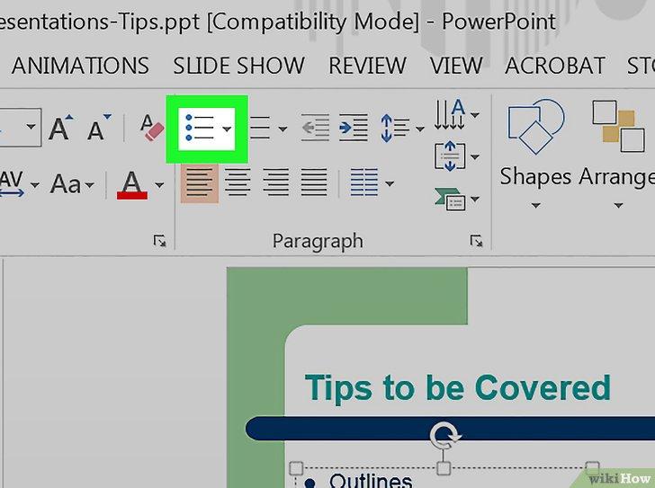 как сделать подпункты в powerpoint