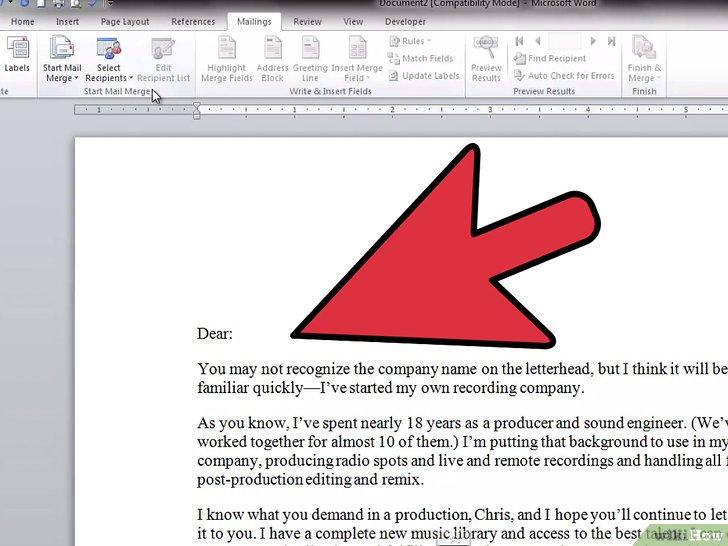 как сделать рассылку писем в word