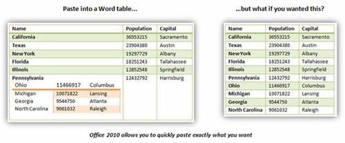 как сделать специальную вставку в word 2010