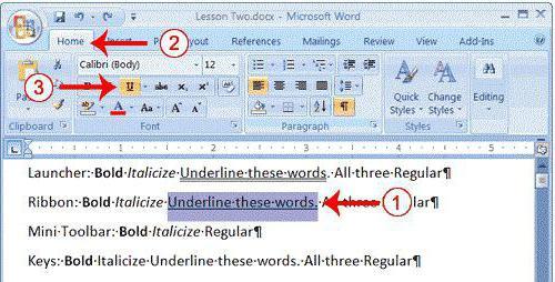 как в word 2007 сделать подчеркивание