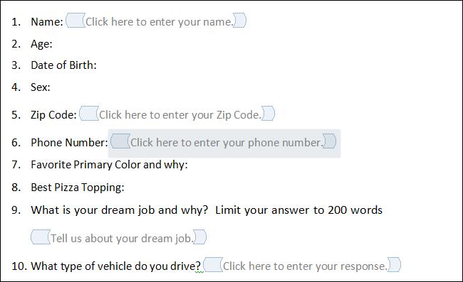 как в word сделать форму для автоматической подстановки